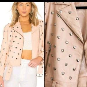 Leather Moto Jacket Studded Hearts Pink size XS